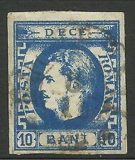 ROMANIA. 1869. 10b Deep Prussian Blue, Medium Paper. SG: 75b. Fine Used.