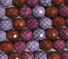 """Snake 15 Czech 10mm Faceted Round Firepolished Glass Beads 6"""""""