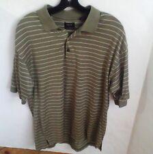 IZOD Men's double mercerized Polo Pullover crew neck Shirt green striped Large