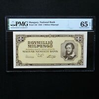 1946 Hungary 1Million Milpengo, Pick # 128, PMG 65 EPQ Gem Uncirculated