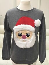 PRIMARK CHRISTMAS GREY SANTA SWEATSHIRT JUMPER CARDIGAN UK8/EU36/US4