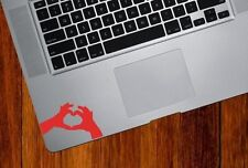 Small love heart hands Mac Book/Air/Retina laptops, Red decal. Made in Australia