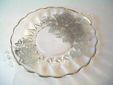 PLATTER OR TRAY CRYSTAL ROSE DESIGN  STERLING SILVER OVERLAY ON GLASS