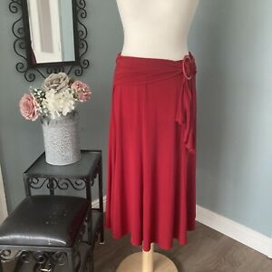 Post Box Red Midi Skirt Saloos Size Large - 14 16 18 Tie Detail Lightweight Stre