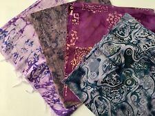 4 P. Quarter Quilt Prints Cotton Fabric 1 Yd Purple Violet Amethyst Blue Batik