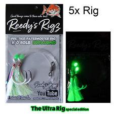 5x Ultra Snapper Rig Reedy's 6/0 Lumo Dominator  Hook Best Paternoster Rig 80lb