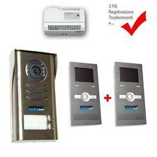 """videocitofono 2 fili kit pulsantiera e 2 monitor 3,5"""" Videocitofoni bifamiliare"""