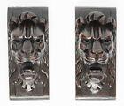 Pair of Antique Carved Oak Renaissance style Architectural Salvaged Lion Heads