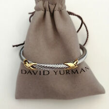 David Yurman Cable Bracelet 4mm Sterling Silver Double X Crossover Size M