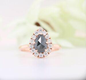 Black Pear Shaped Diamond Engagement Ring