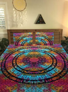 Multi Tie Dye Print Queen Size Bed Sheet Cover With 2 Pillow Case Indian Cotton