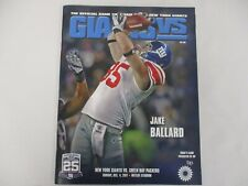 DEC 4 2011 NEW YORK GIANTS vs GREEN BAY PACKERS GAME PROGRAM w JAKE BALLARD