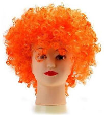 ORANGE 80s CURLY AFRO WIG PARTY CLOWN FUNKY DISCO ADULTS KIDS HAIR FUZZ HEAD