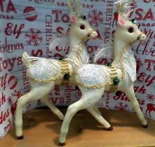 """Vintage Plastic Reindeer Pair 12""""+ Ornate Vintage Reindeer Glittered Reindeer"""