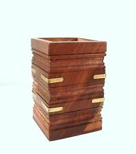 Hand Carved Wood Pen Pot Desk Tidy Square with Brass Detail