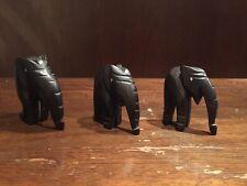 "Three Carved Rosewood Elephant Figurines 2 1/2"" Handmade Decor"