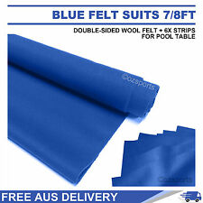 BLUE DOUBLE-SIDED WOOL POOL SNOOKER TABLE CLOTH + 6X FELT STRIPS SUIT 7FT 8FT