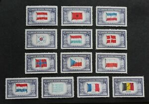 USA - 1943 SCARCE COUNTRY OVERRUN FLAGS SET UNUSED MH LOT RR