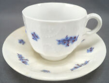 Pair of Cheslea Sprig Grape Pattern Soft Paste Porcelain Cups & Saucers C. 1840s