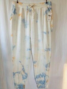 $98 Splendid MEDIUM Joggers Sweatpants Tie Dye w/Pockets White Blue Orange NWT