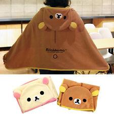 1x Rilakkuma Bear Cape Fleece with Hat Throw Soft Warm Blanket Button Closure