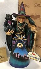 RARE! New Jim Shore Witch Black Cat and Crow Spooky Graveyard Owl Key Halloween