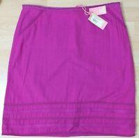 White Stuff Ladies Purple Linen Cotton Blend Summer Lined Skirt Size 12 BNWT
