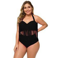 Retro Bikini Set Black Fringed Top High Waist Brief XXL 18 Moulded Halter Bra