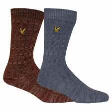 Lyle & Scott Men's 2-Pack Mouline Boot Socks, Burgundy/Blue