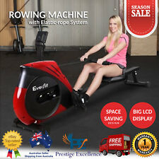 Foldable Fitness Rowing Machine Home Gym Rower + Elastic Rope-System LCD Display