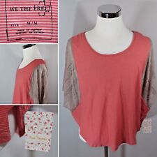 NEW FREE PEOPLE Sz M Lacey Love Red Coral Fall Boho Striped SS Shirt Top Blouse