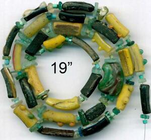 """Roman Ancient Yellow Black Glass Beads Encrusted Tubes ~2,000 yrs Old~ 19"""""""