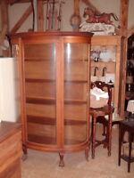 Vintage Cabinet, Early 1900's, Curved Glass, Original, Tiger Oak 6 Ft .