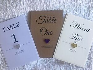 Handmade Personalised 3d Glitter heart Wedding Table Numbers / Names