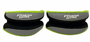 Fitness Gear Ankle Weight Set - 5 Pounds Each- Green/ Black- Adjustable