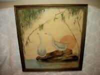 1920s ART DECO ERA WATERCOLOR PAINTING MOONLIGHT GEESE UNIQUE L. MADDEN 1922