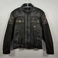 Mens Vintage 80s Leather Motorcycle Jacket Size52 Gold Wing Club MC Biker Jacket