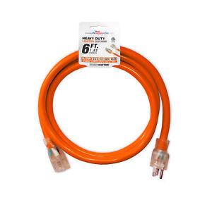6 ft Extension cord 16/3  Lighted end  Orange  Indoor/Outdoor  ETL