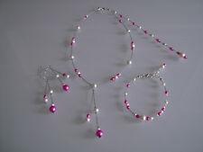 Parure Ivoire/Crème/rose/fuchsia Collier Bracelet Bijou dos Mariage/Mariée robe