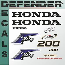 Honda 200 hp Four Stroke outboard engine decal sticker set reproduction 200Hp