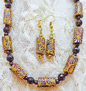 SMALL MOSTLY GOLD VINTAGE AFRICAN TRADE BD, GARNET necklace, earrings 21""