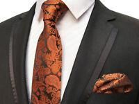 Orange and Black Paisley Patterned Handmade 100% Silk Tie and Pocket Square Set