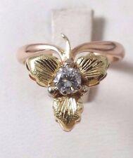 14K  Two Tone Rose Gold USSR Vintage Leaf Diamond Ring