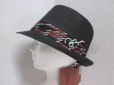 "New Large Santana Black Toyo Straw Fedora Hat w/ Guitar Pin - Black - 2"" brim"