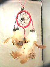 Red with Brown Web Dreamcatcher, Handmade, Hand on the rear view mirror