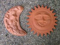 Vtg Terracotta Pottery 2-PC Full Front Sun Face & Sickle Moon Face Folk Art Type