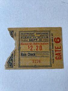 1924 Luis Firpo Vs Harry Wills Heavyweight Fight Ticket 9/11 Boyles 30 Acres
