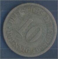 Deutsches Reich Jägernr: 4 1889 J sehr schön Kupfer-Nickel 10 Pfennig (7849095