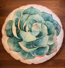 Green Succulent Round Throw Pillow (17.5 Inch Diameter)