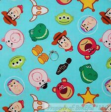 BonEful Fabric FQ Cotton Quilt Disney Toy Story Movie Woody Buzz Alien Star Pig